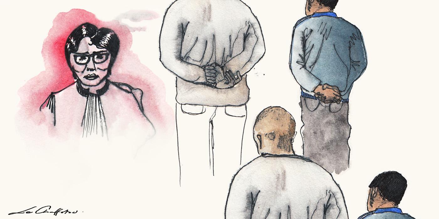 À gauche, la présidente. À droite, Stéphane et Mehdi. (Illustration : Clarisse Le Chaffotec)