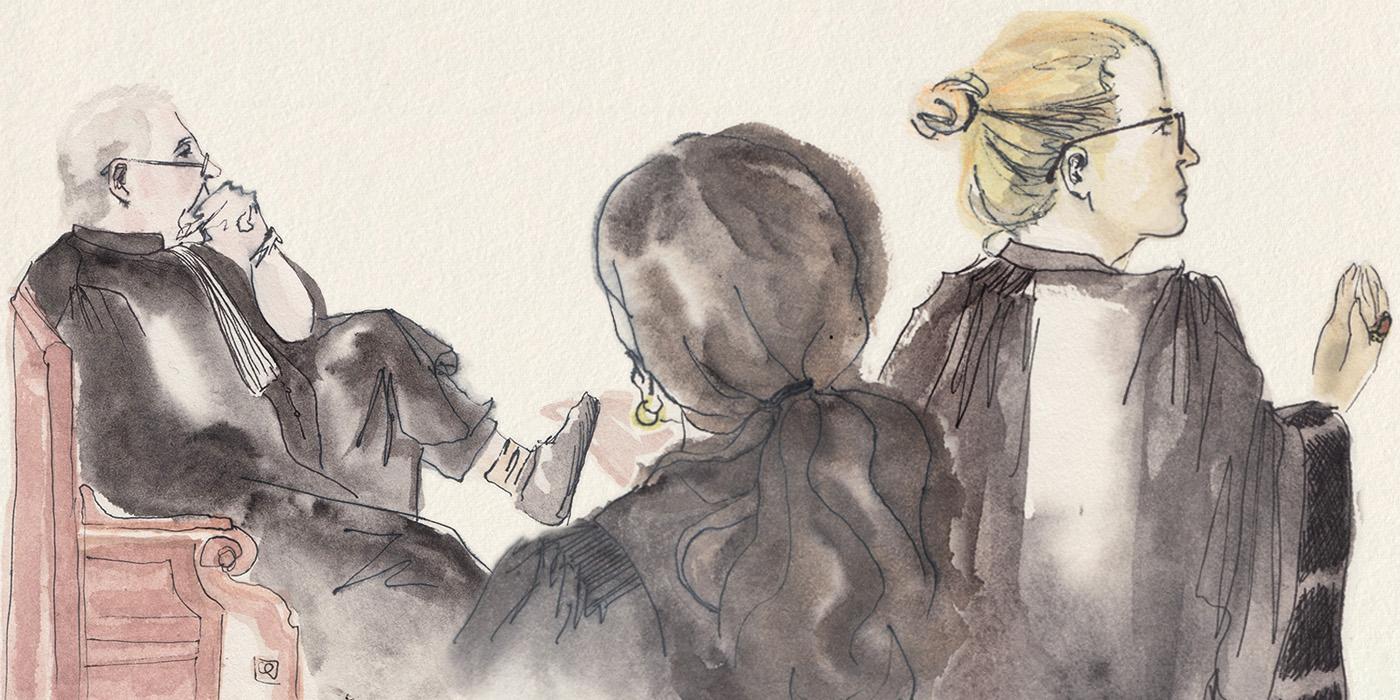 À gauche, Lef Forster, l'avocat d'Henri. Au premier plan, les deux avocates des parties civiles