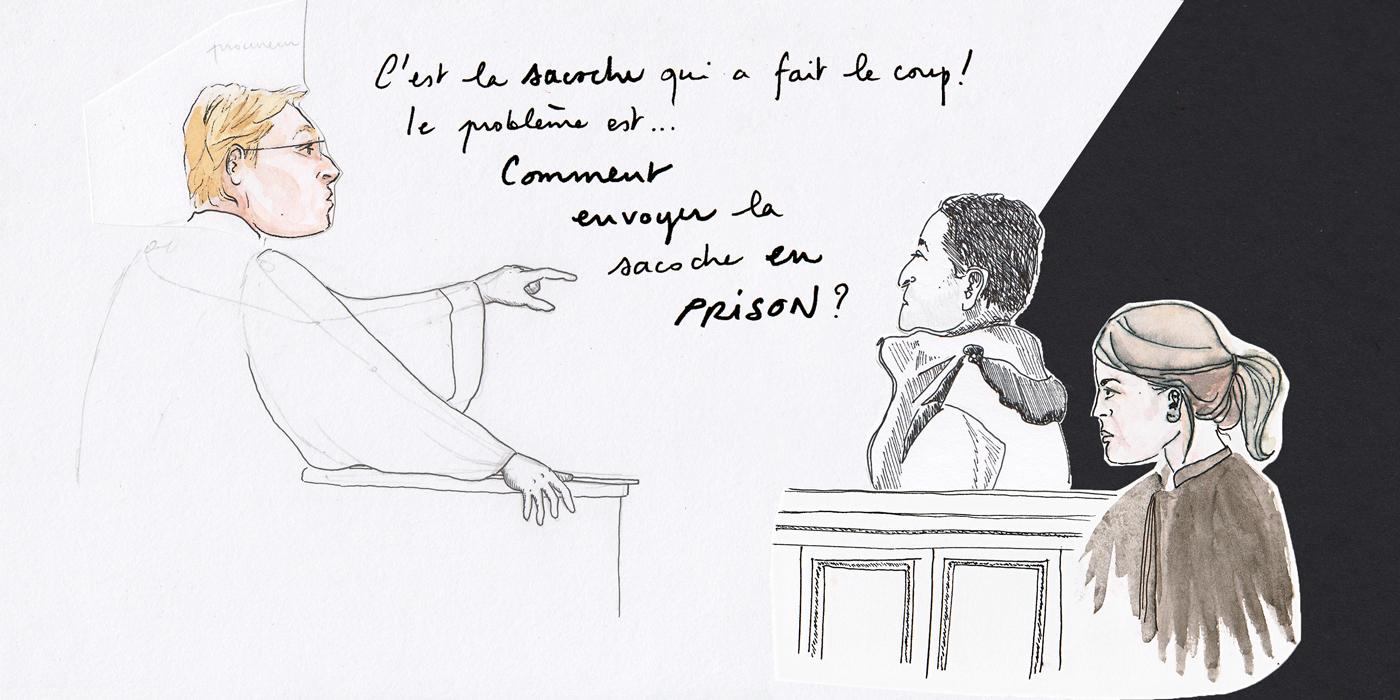 Le procureur, Miloud et son avocate (Illustration: Clarisse Le Chaffotec)