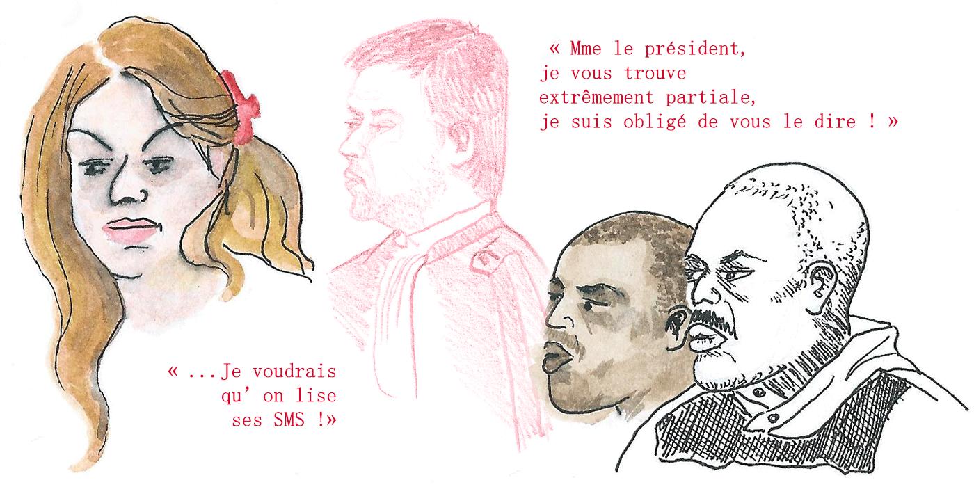 La victime Djamila, l'avocat de la défense, et Omar, le prévenu (illustration : Clarisse Le Chaffotec)