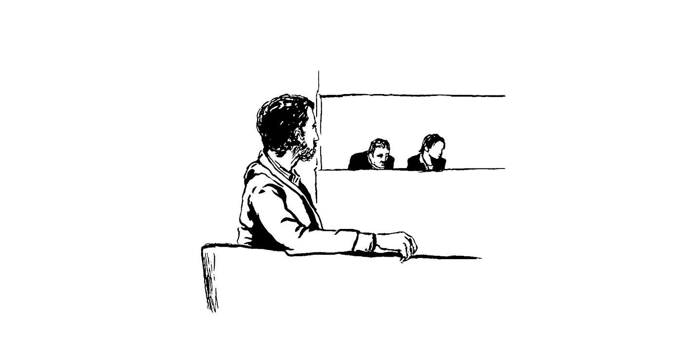 Youssef, sur le banc des victimes. (Illustration: Pierre Budet)