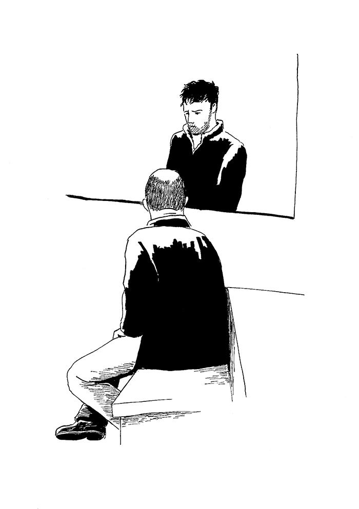 Abdou, derrière la vitre du box, et son interprète. (Illustration: Pierre Budet)