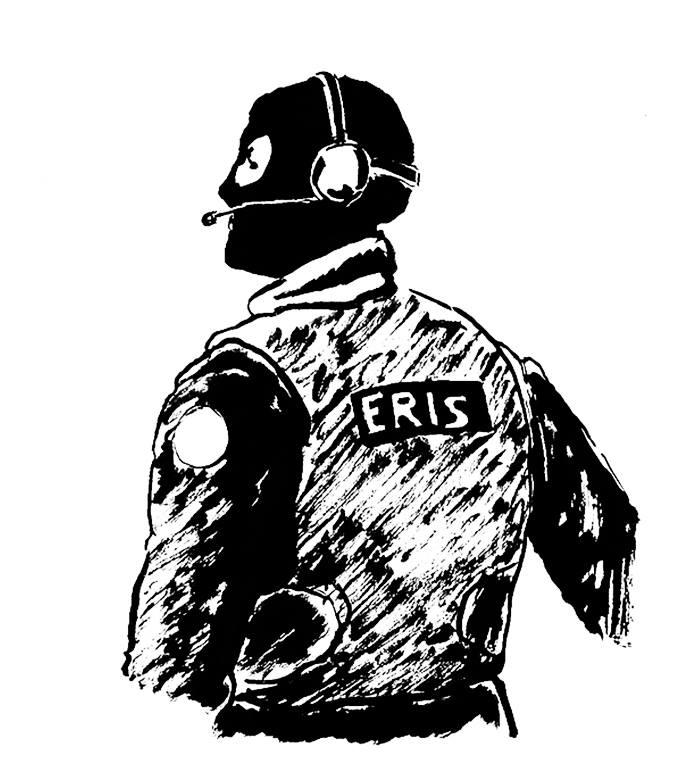 Six membres de l'équipe régionale d'intervention et de sécurité ont surveillé le procès, qui a duré cinq jours. (Illustration: Pierre Budet)