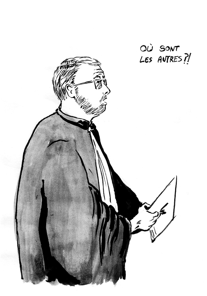 Me William Pineau, avocat de la défense, lors de sa plaidoirie. (Illustration: Pierre Budet)