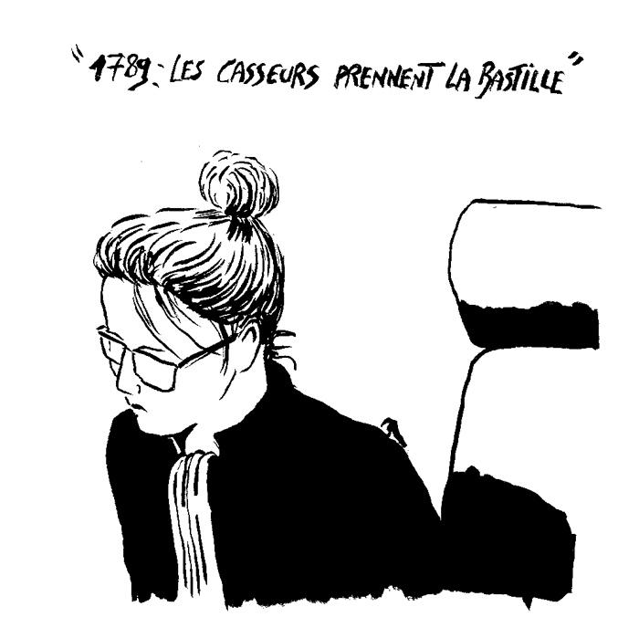 La présidente du tribunal, Anne Boivin, liste des messages tagués à Rennes pendant les manifestations. (Illustration: Pierre Budet)