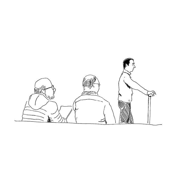 Anthony face au tribunal correctionnel de Rennes. Sur le banc des victimes, deux salariés de Thales, qui ne demandent pas de dommages-intérêts. (Illustration: Pierre Budet)