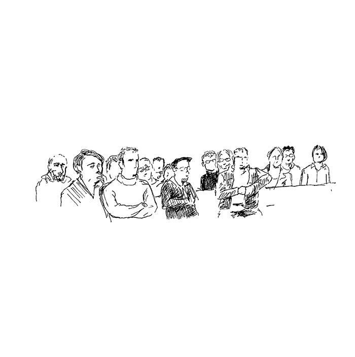 De nombreux salariés de Thales sont venus assister à l'audience, mardi 13 décembre 2016. (Illustration: Pierre Budet)