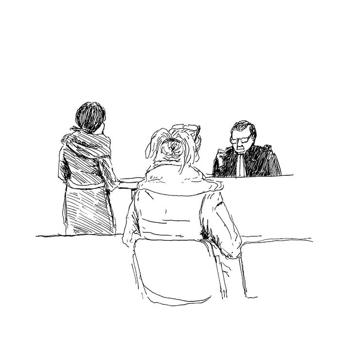 Maranatha à la barre et Tiphaine, sa voisine, sur le banc des victimes. (Illustration: Pierre Budet)