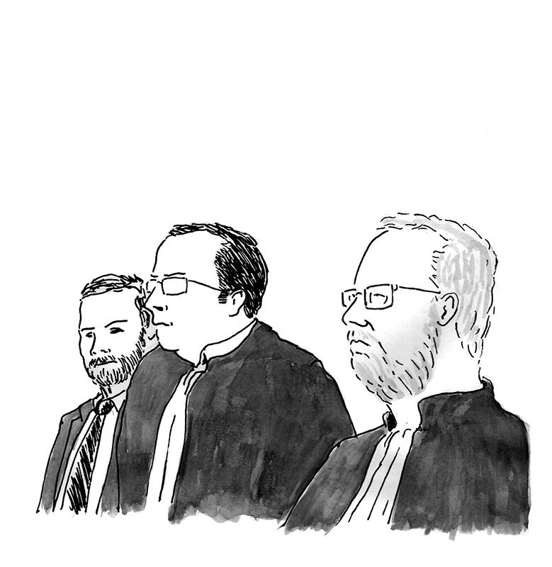 Trois magistrats siègent lors d'une commission d'expulsion. Au milieu, le président, Nicolas Léger. (Illustration: Pierre Budet)