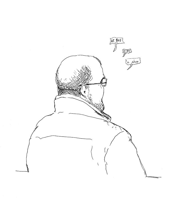 Patrick devant le tribunal de police de Rennes. (Illustration: Pierre Budet)