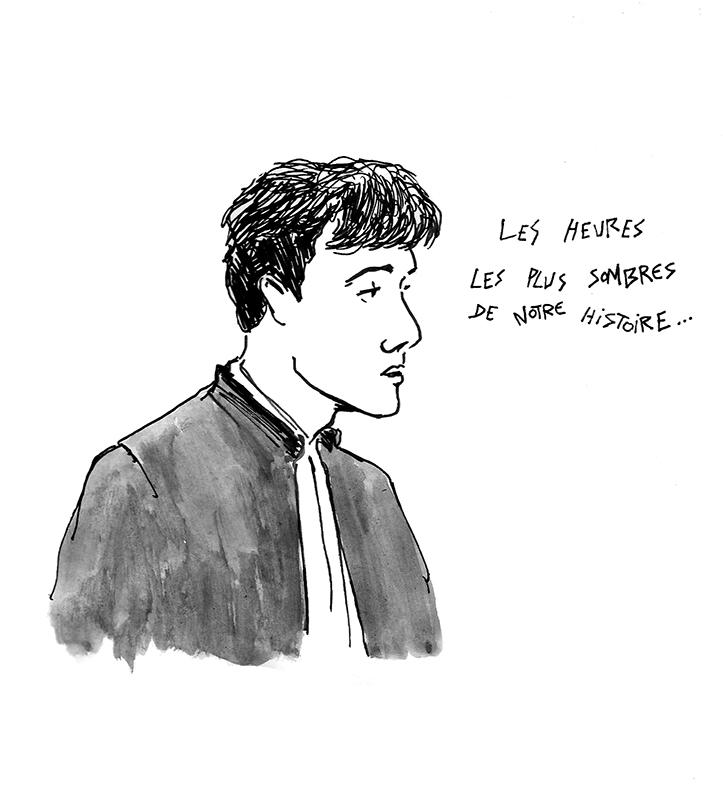 Me Matteo Bonaglia pendant sa plaidoirie. (Illustration: Pierre Budet)