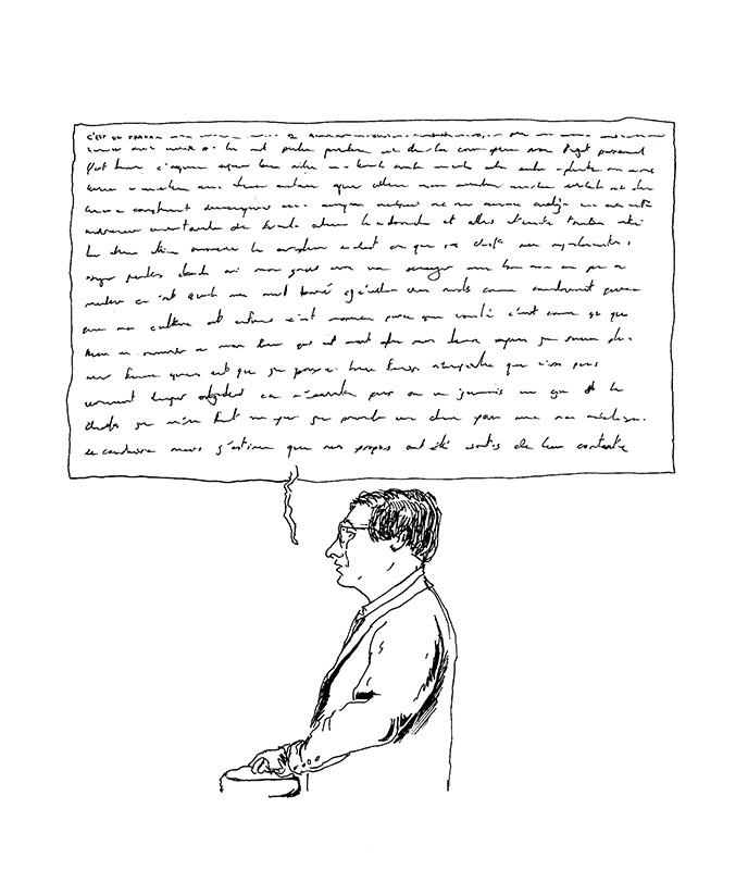 Pierre devant le tribunal correctionnel de Rennes. (Illustration: Pierre Budet)