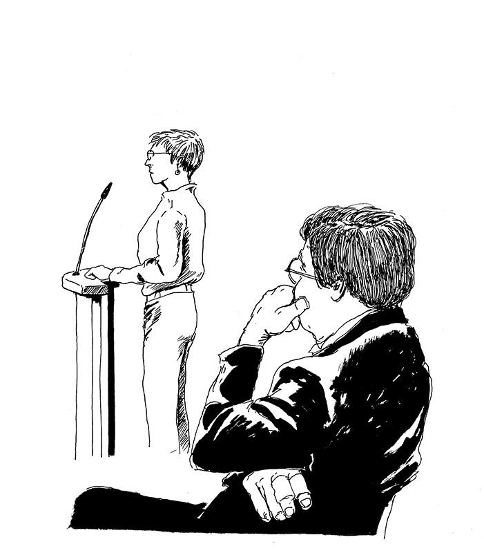 Danièle raconte ce qu'elle a enduré. Au tour de Pierre d'écouter. (Illustration: Pierre Budet)