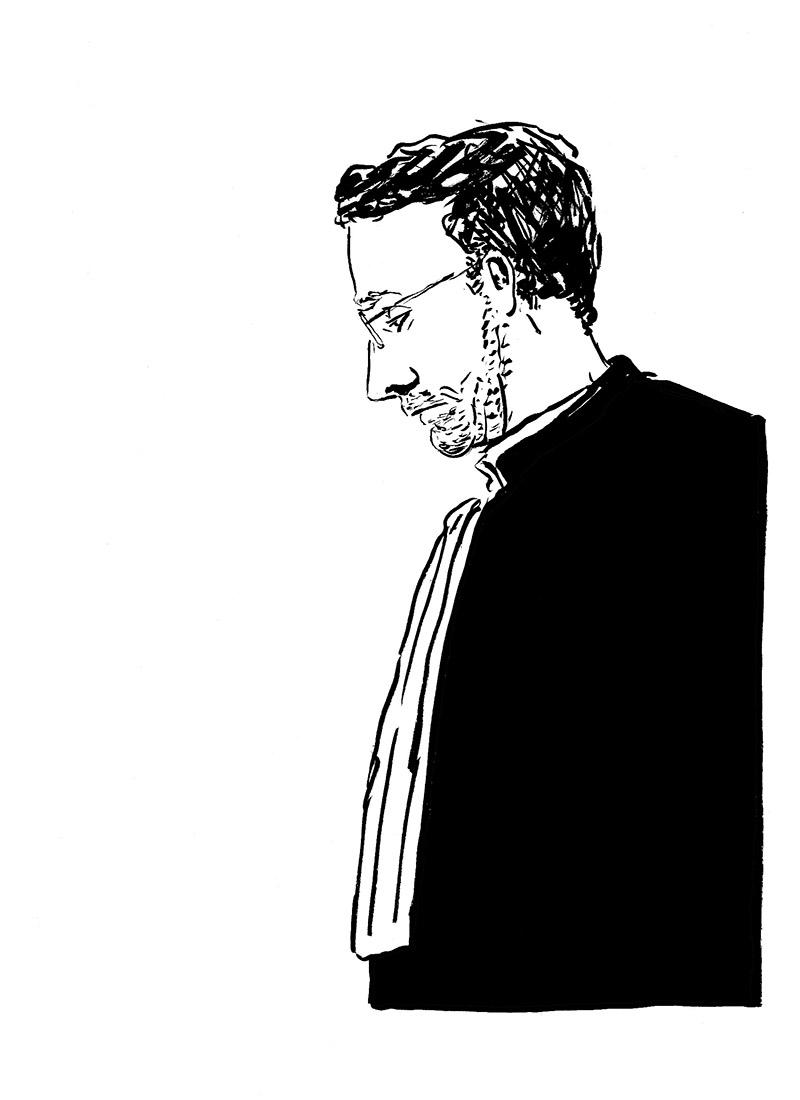 Le procureur, Éric Calut. (Illustration: Pierre Budet)