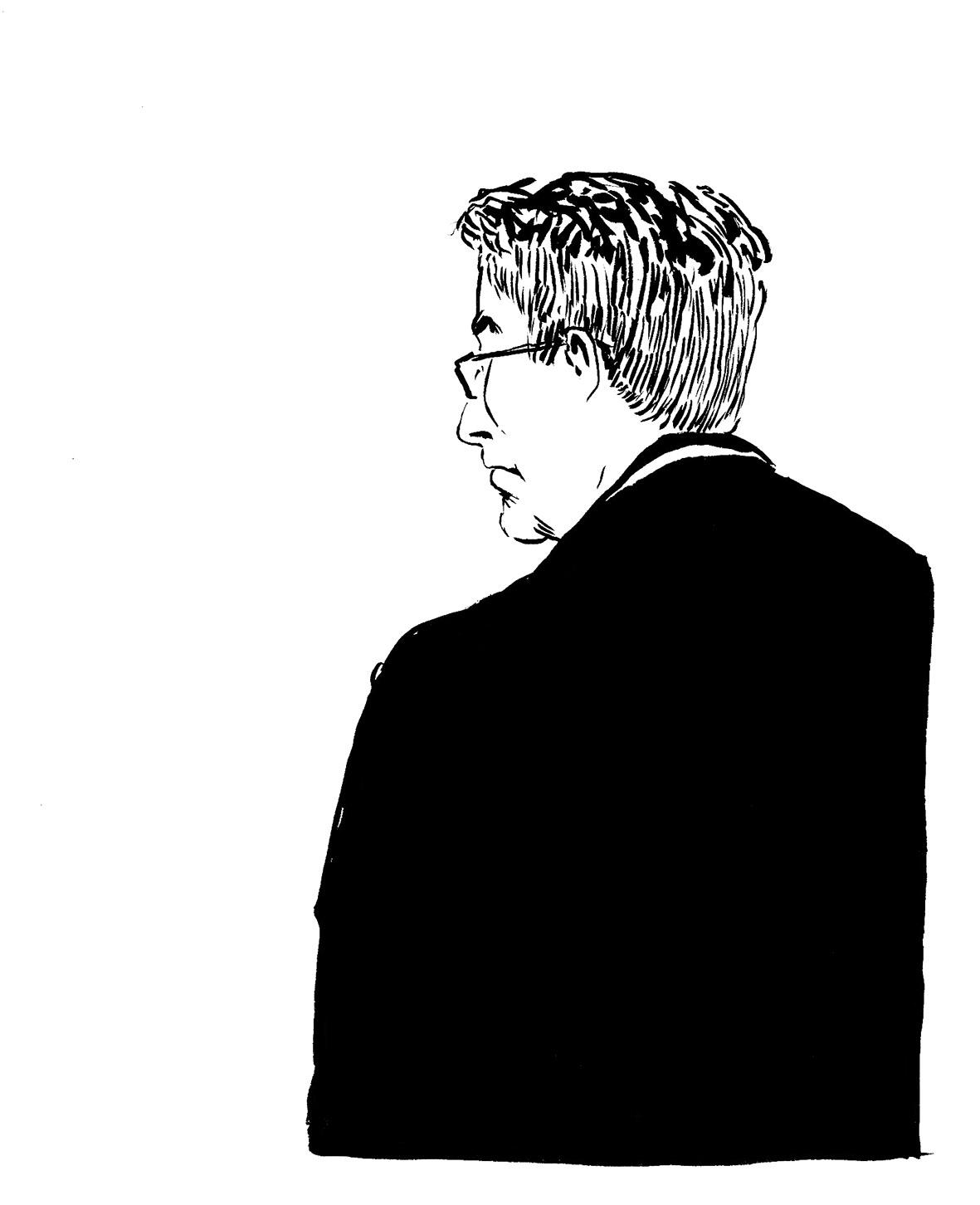 Me Jean-Marie Alexandre pour la défense. (Illustration: Pierre Budet)