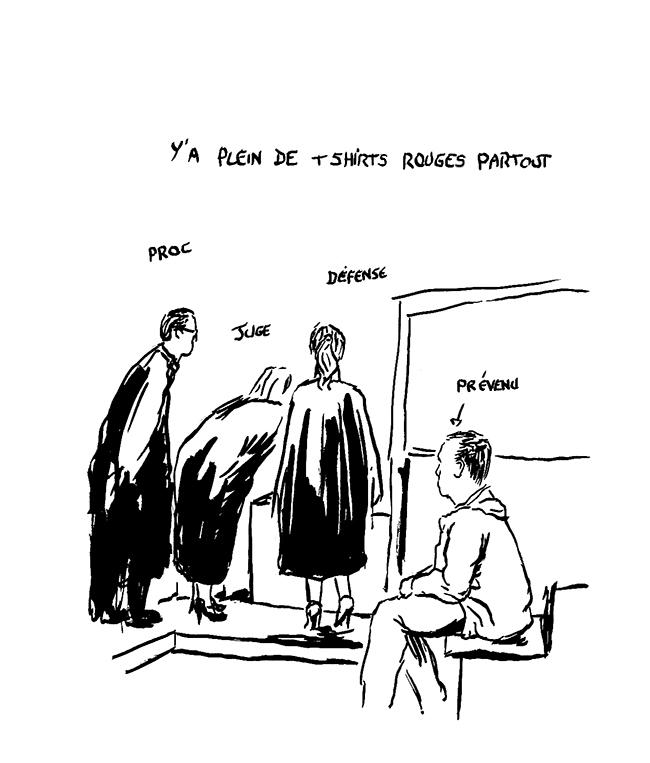 Le tribunal refait le match autour du bureau de la greffière. (Illustration: Pierre Budet)