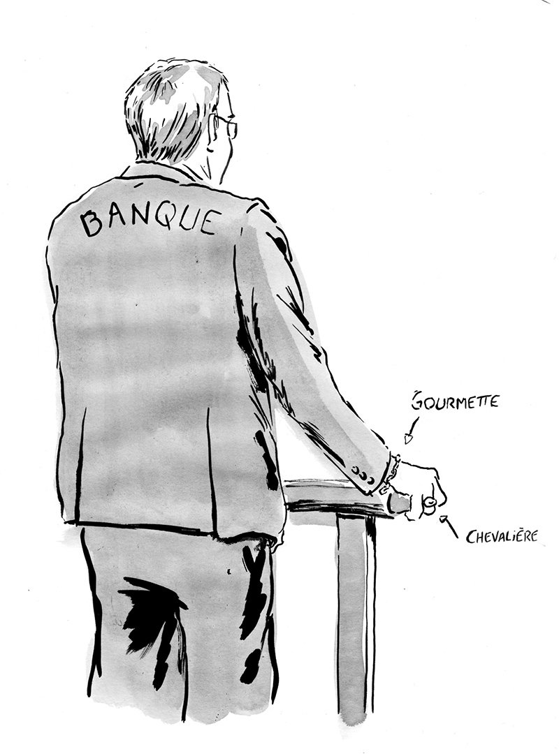 Le directeur juridique de la banque à la barre. Dessin : Pierre Budet.