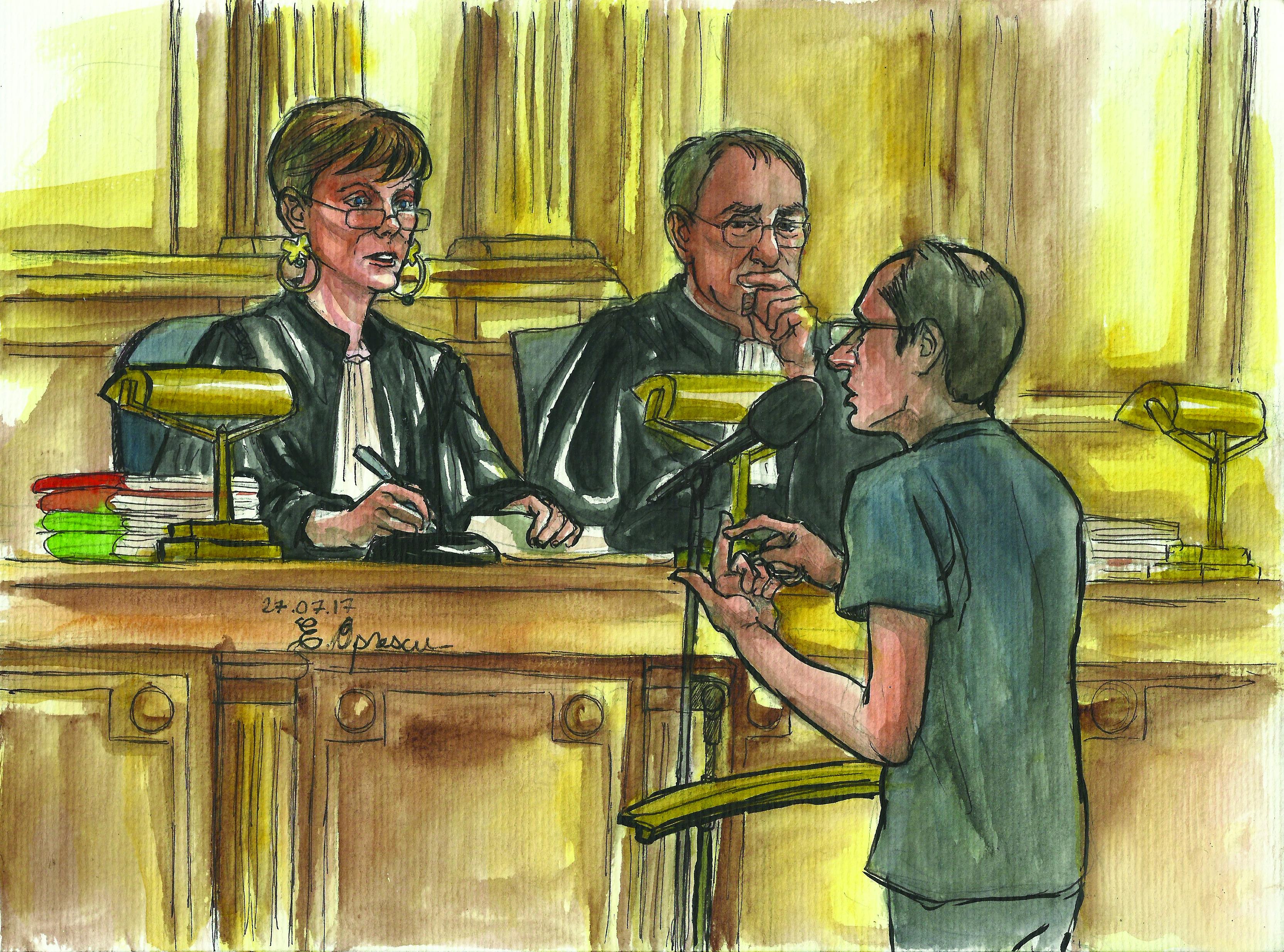 Samuel devant la présidente du tribunal